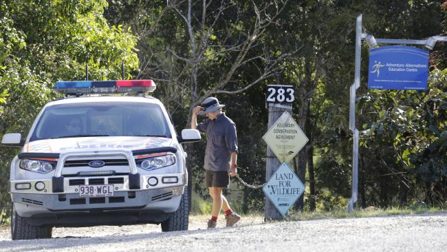 Police leaving Adventure Alternatives Education Centre this afternoon. Picture: AAP/ Megan Slade
