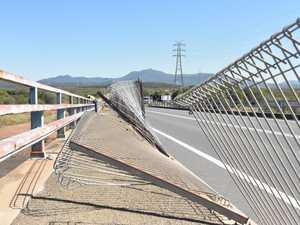 Damaged barrier on Calliope River bridge