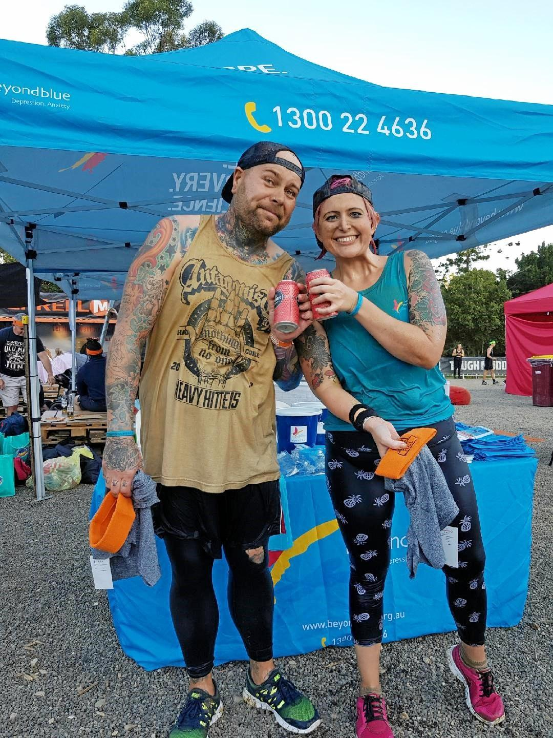 TOUGH NUTS: Amy Ratcliffe and Daniel Bennett competing at the 2018 Tough Mudder after raising $3,000 for Beyond Blue