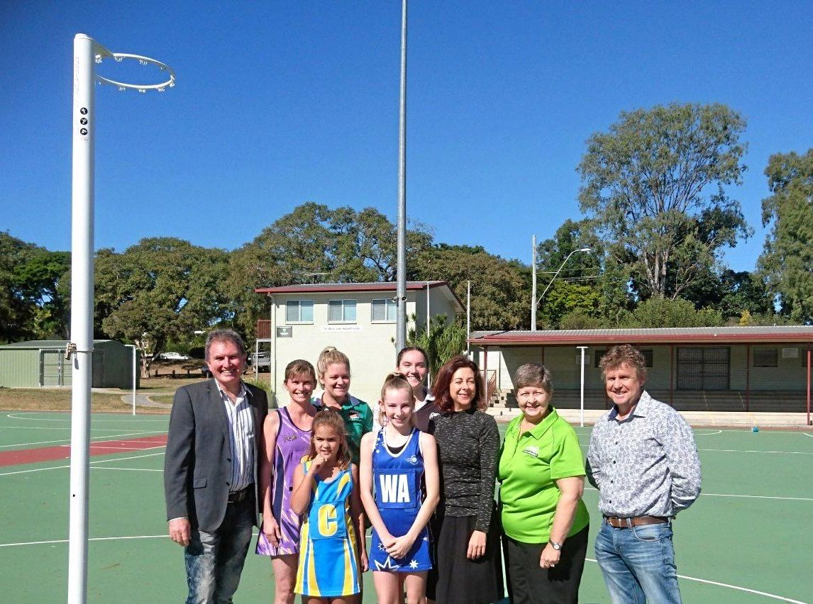 Ipswich councillors David Morrison and David Martin join with state Member for Ipswich Jennifer Howard, Ipswich Netball Association president Gail Lyne and local netballers to announce the exciting funding boost.
