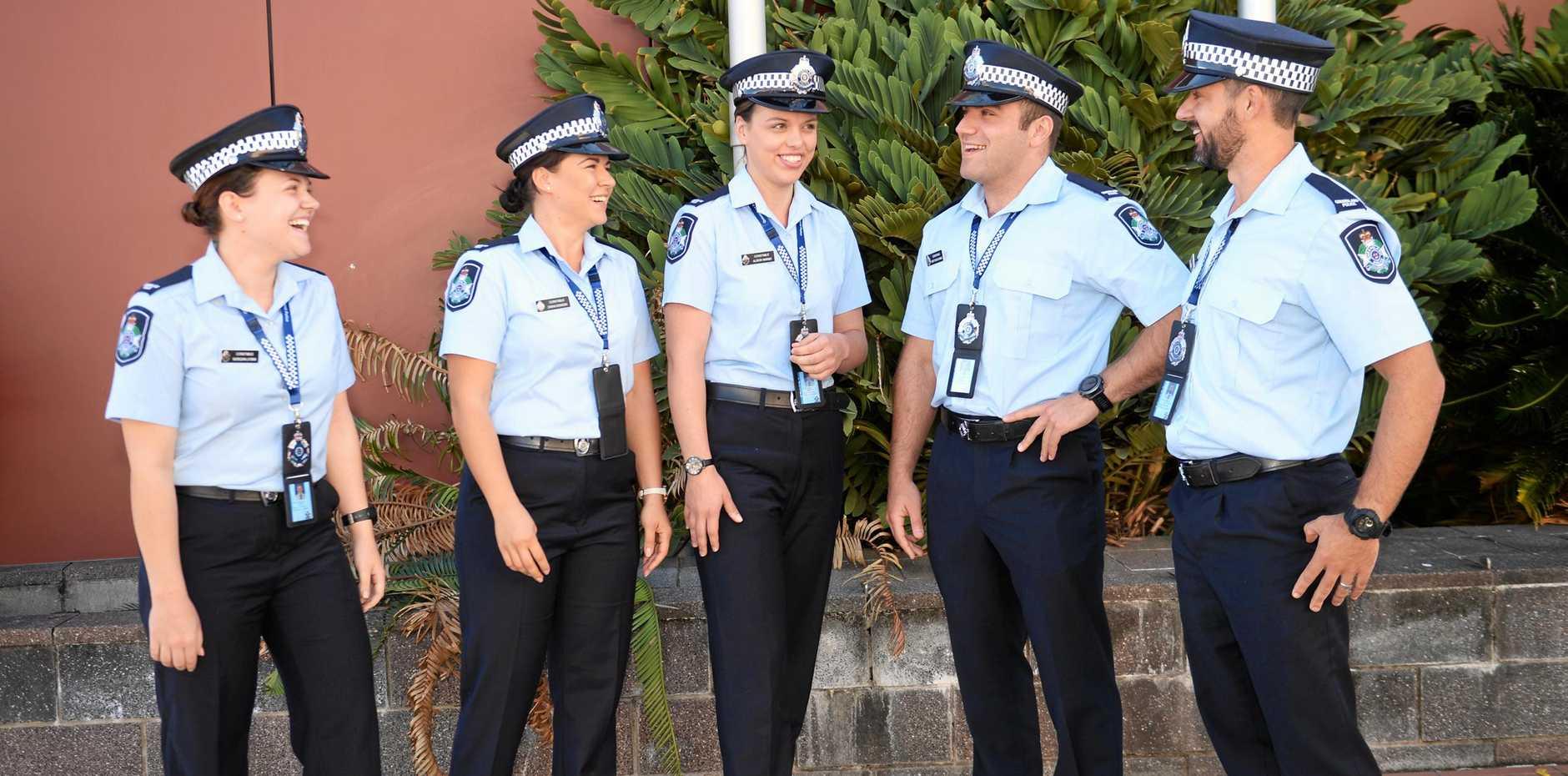 NEW RECRUITS: Rockhampton's newest police recruits Constable Morgan Lyons, Constable Dianna Sovacki, Constable Alison Marsh, Constable Matthew Daniel and Constable Wian Schwartz.
