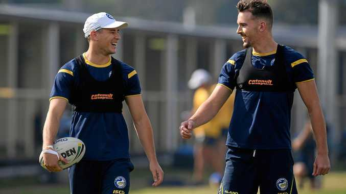 Mitchell Moses (left) and Clint Gutherson will link up in the halves for the Eels.