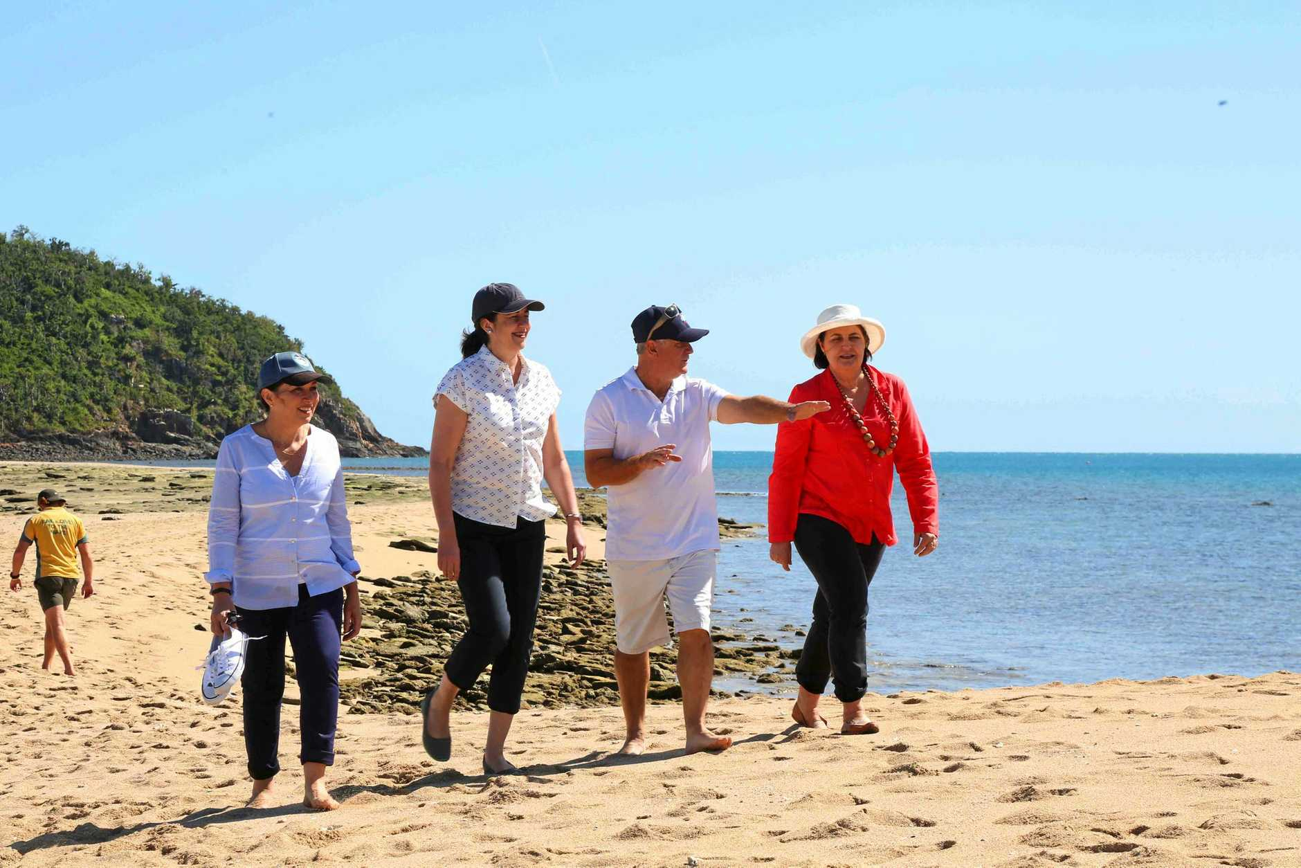 Minister for the Great Barrier Reef Leeanne Enoch with Premier Annastacia Palaszczuk and Tourism Whitsundays chairman Al Grundy and Member for Mackay Julieanne Gilbert at Langford Island on Wednesday.