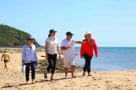 Member for Mackay Julieanne Gilbert with Premier Annastacia Palaszczuk and Minister for the Great Barrier Reef Leanne Enoch at Langford Island on Wednesday.