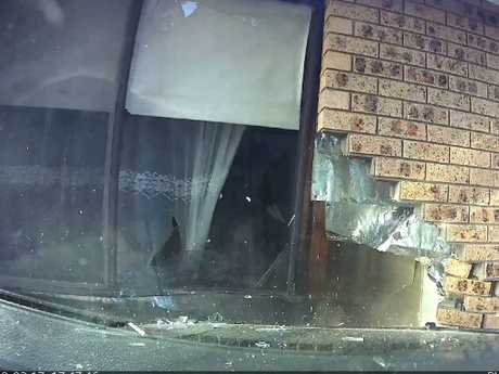 He then smashes through the side of a family house. Picture: Penrith Local Court