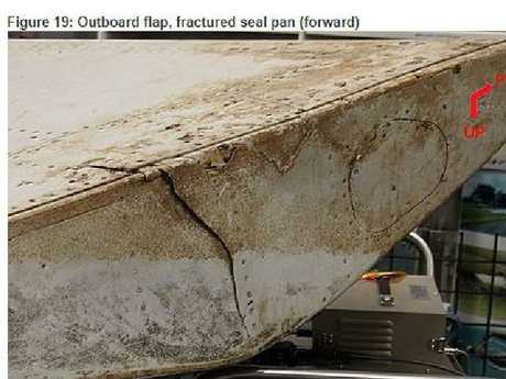 This damage on a piece of wreckage from MH370 indicates the flaps were retracted at the point of fracture and separation from the wing. Picture: ATSB