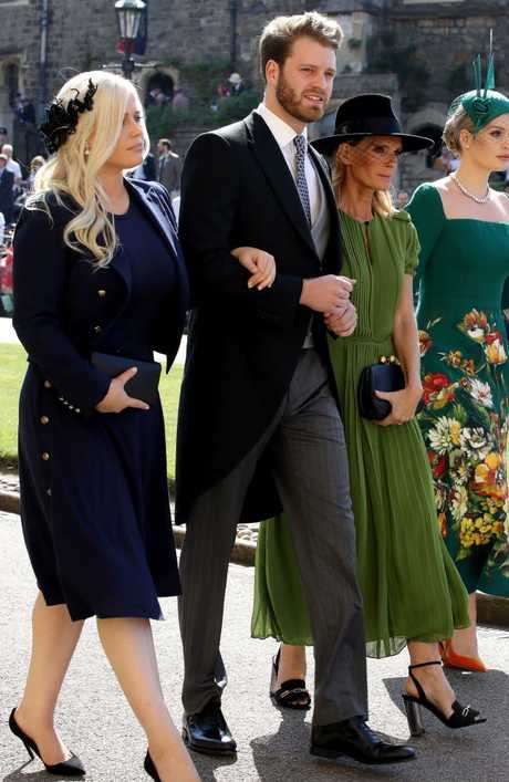 Eliza Spencer, Louis Spencer, Victoria Aitken and Kitty Spencer arrive for the wedding ceremony of Prince Harry and Meghan Markle. Picture: Getty Images