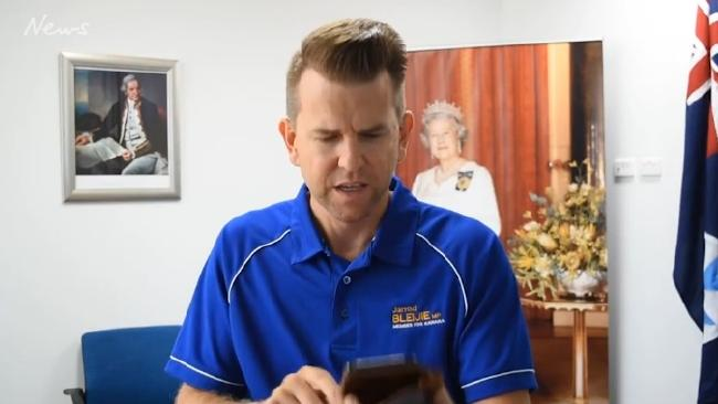 Jarrod Bleijie reads out mean tweets in a Facebook video.