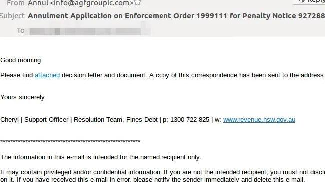 A copy of the scam email making the rounds. Picture: MailGuard