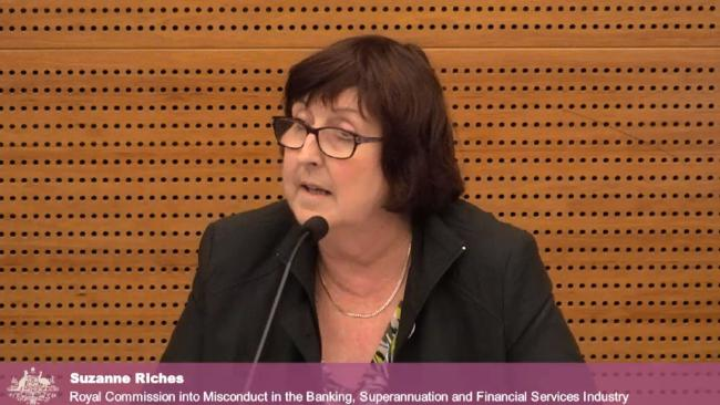 Schoolteacher Sue Riches giving evidence at the banking royal commission.