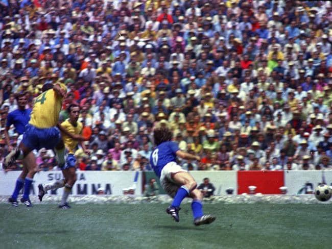 Brazil's captain Carlos Alberto unleashes his fierce strike.