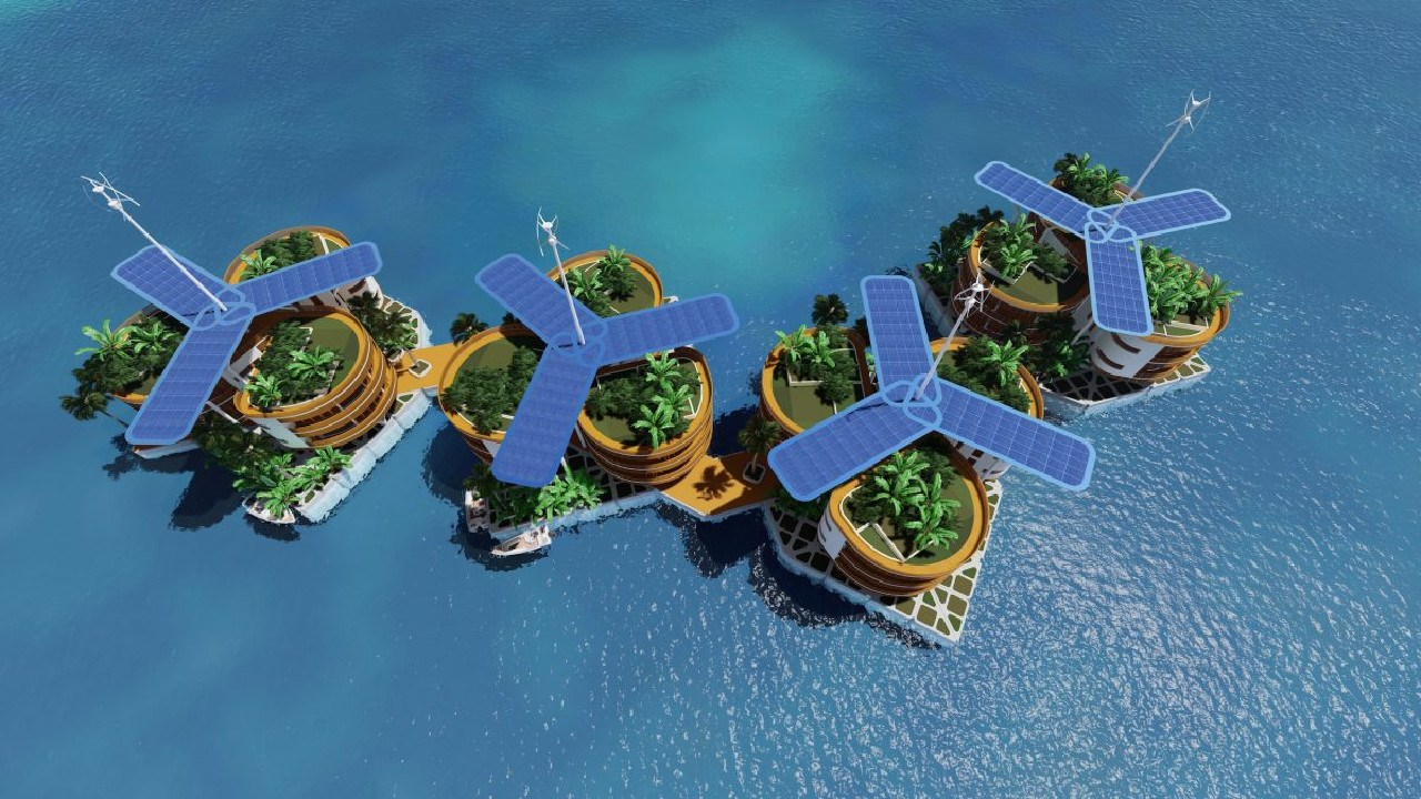 Fancy living on a tiny self-sustaining island in the middle of the Pacific? Credit: Blue Frontiers