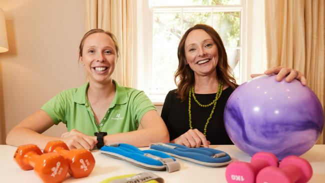 Helping Hand Aged Care exercise physiologist Georgia Perkins and student participation research development manager Helen Loffler. Picture: AAP/Matt Loxton