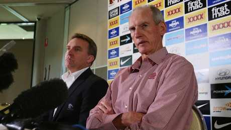 Broncos CEO Paul White and Wayne Bennett.