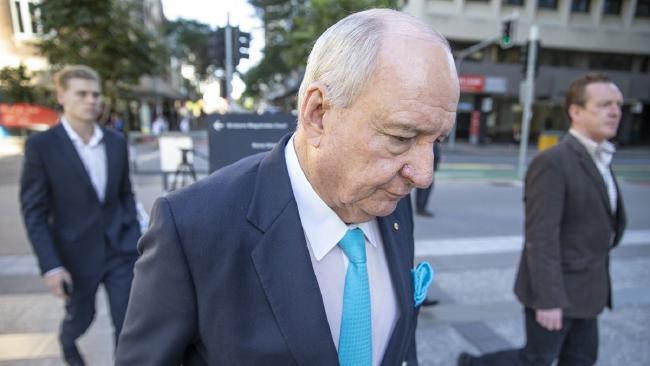 Radio broadcaster Alan Jones outside the Supreme Court in Brisbane. Picture: AAP/Glenn Hunt