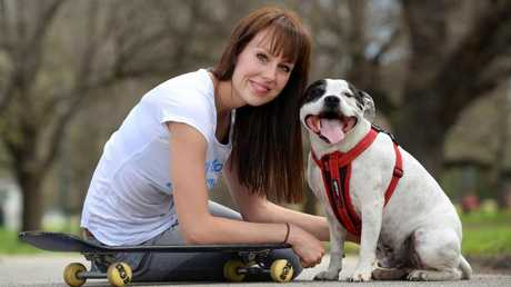 Animal behaviour expert Laura Vissaritis with her pooch Chester. Picture: Josie Hayden.