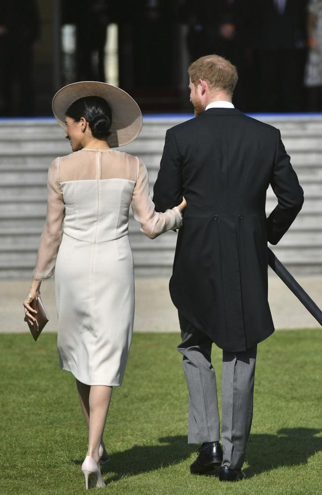 Harry and Meghan at their first event as a married couple. Picture: Dominic Lipinski via AP