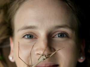 Insect enthusiast Tarni Roebuck with 'Magda' the