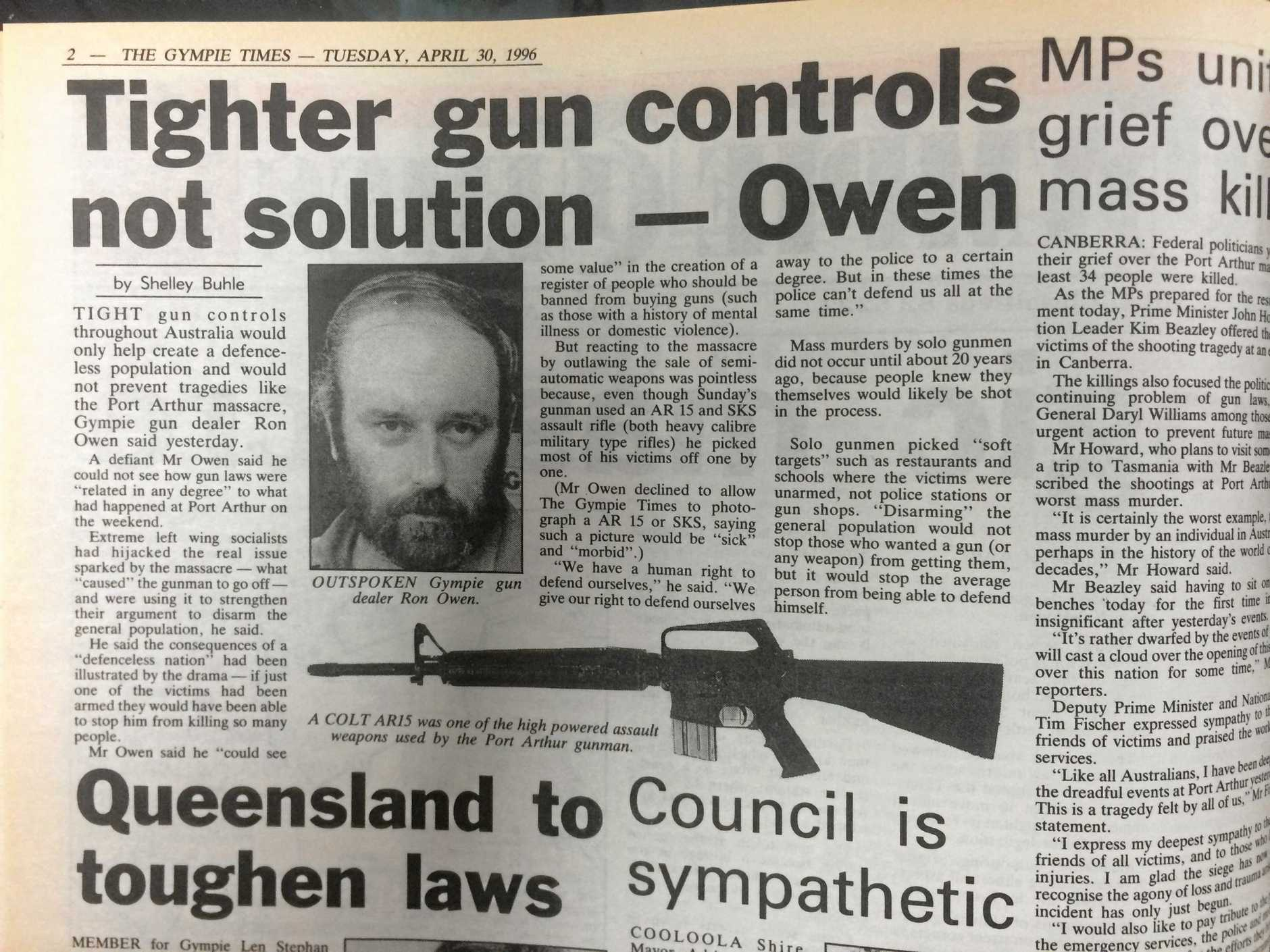 CONTENTIOUS: A post-Port Arthur massacre story in The Gympie Times outlined local gun owner Ron Owen's opposition to proposed firearm bans nationwide.