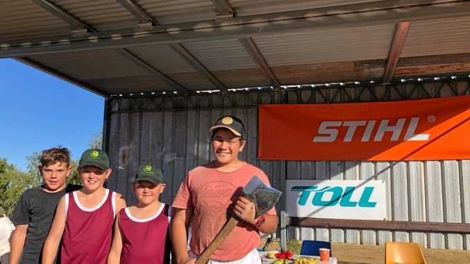 CHOPPING GOALS: Novice woodchoppers Akzil Johnston, Usha Johnston and Steele Johnston from Mirani and Awatea Barrett from Finch Hatton at the Comet Show.