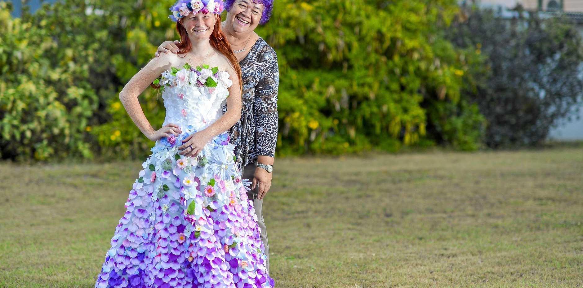 WOW FACTOR: Pheobie Walker-Woodrow models wearable art dresses made by Marcia Rickman.