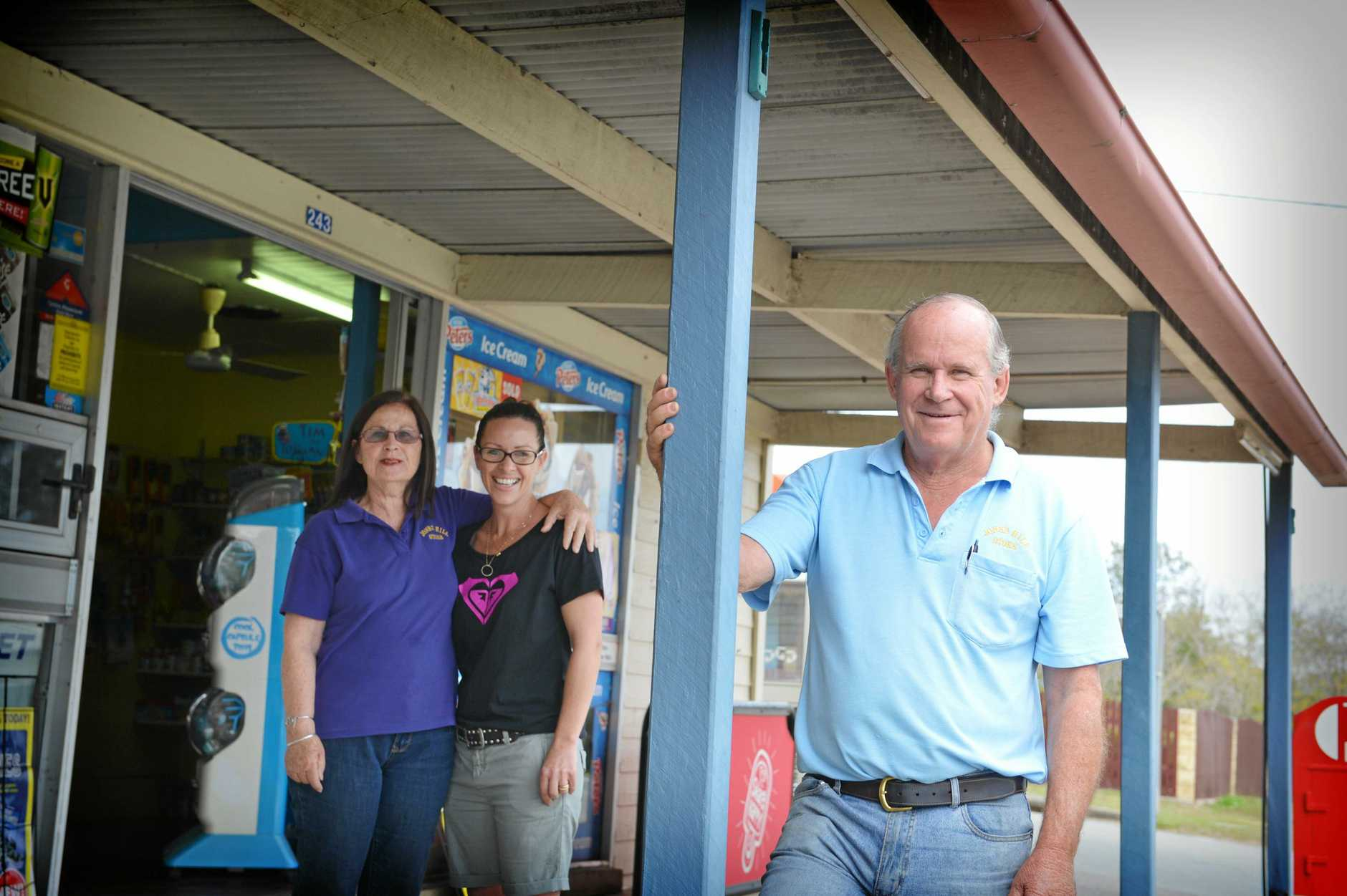 FOR SALE: Delia Russell, Nadine Edmunds and Bruce Russell at the Jones Hill store which is up for sale.