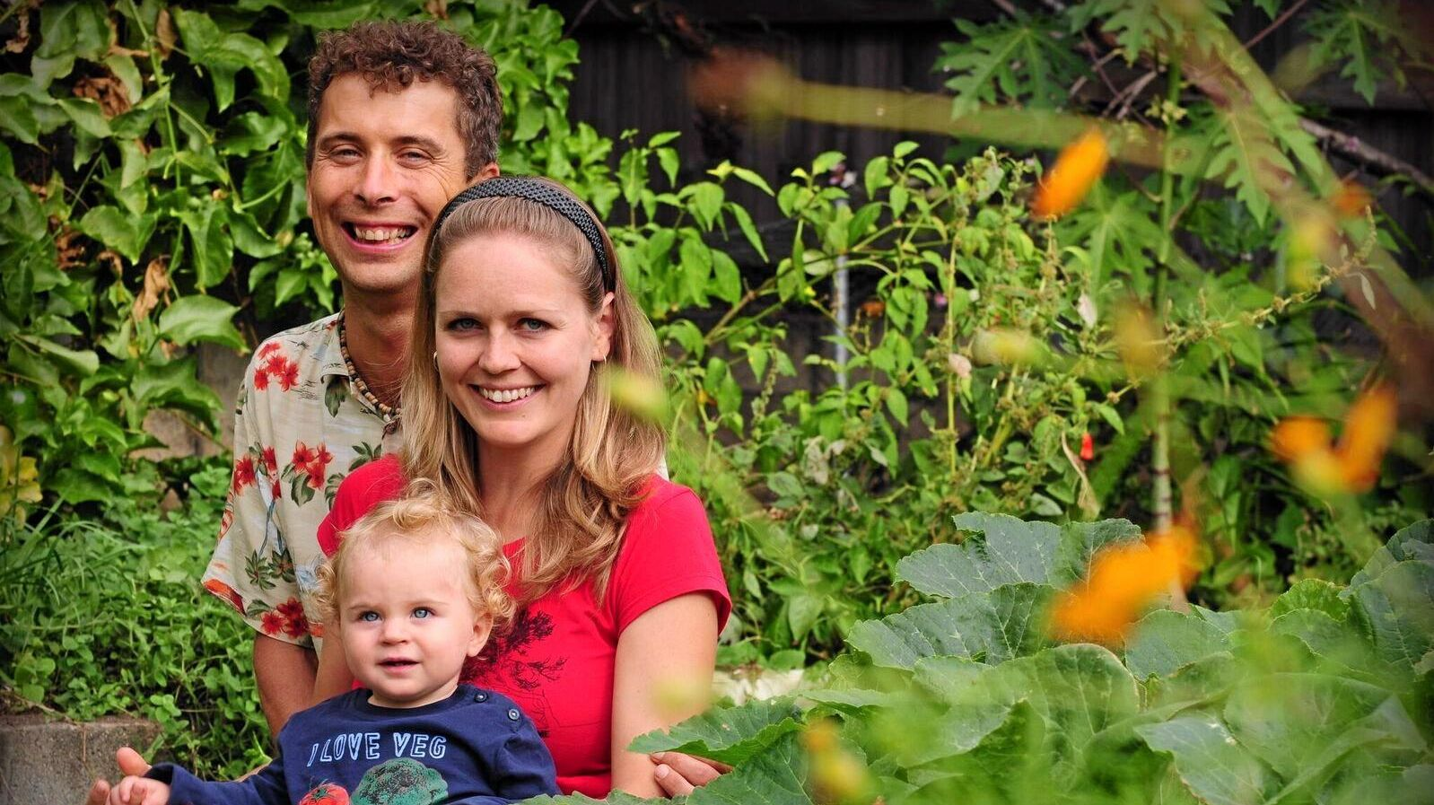 YOU CAN TOO: Roman Spur with his wife Jana and his daughter Lada  are living a clean, green and affordable life.