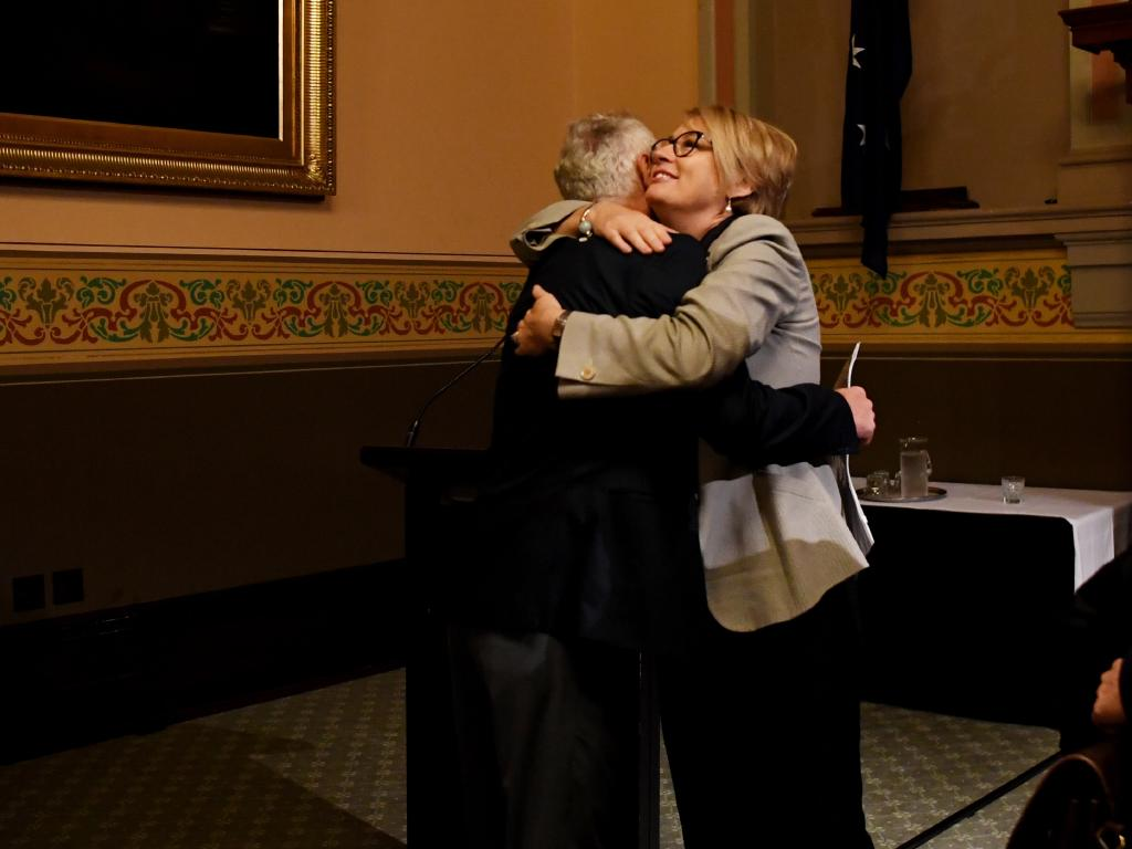 Sally Capp is congratulated after being announced as the new Lord Mayor of Melbourne at the official results announcement. Picture: AAP
