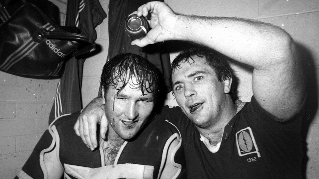Rohan Hancock and Rod Morris celebrate Queensland's success in 1982.