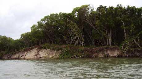 Erosion on the western side of Bribie in Pumicestone Passage.