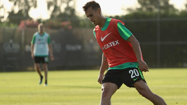 Trent Sainsbury training in Turkey.