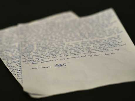 "A handwritten statement by Yulia Skripal. She said recovery has been ""slow and painful"". Picture: Dylan Martinez via AP"