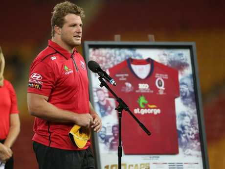 Reds captain James Slipper thanks the crowd reaching 100 Reds caps.