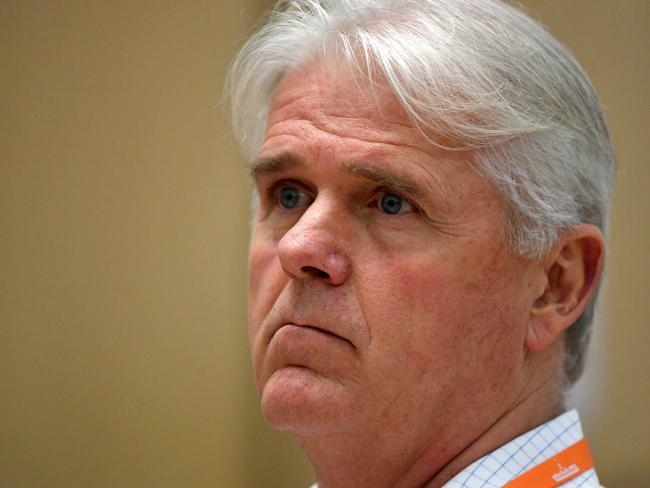 Outgoing National Broadband Network  CEO Bill Morrow at the  Senate Estimates hearing.