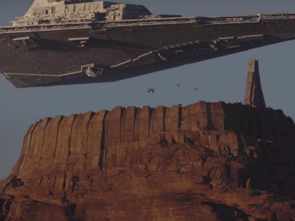 A Star Destroyer lurks over an ancient Jedi citadel. Picture: Rogue One: A Star Wars Story
