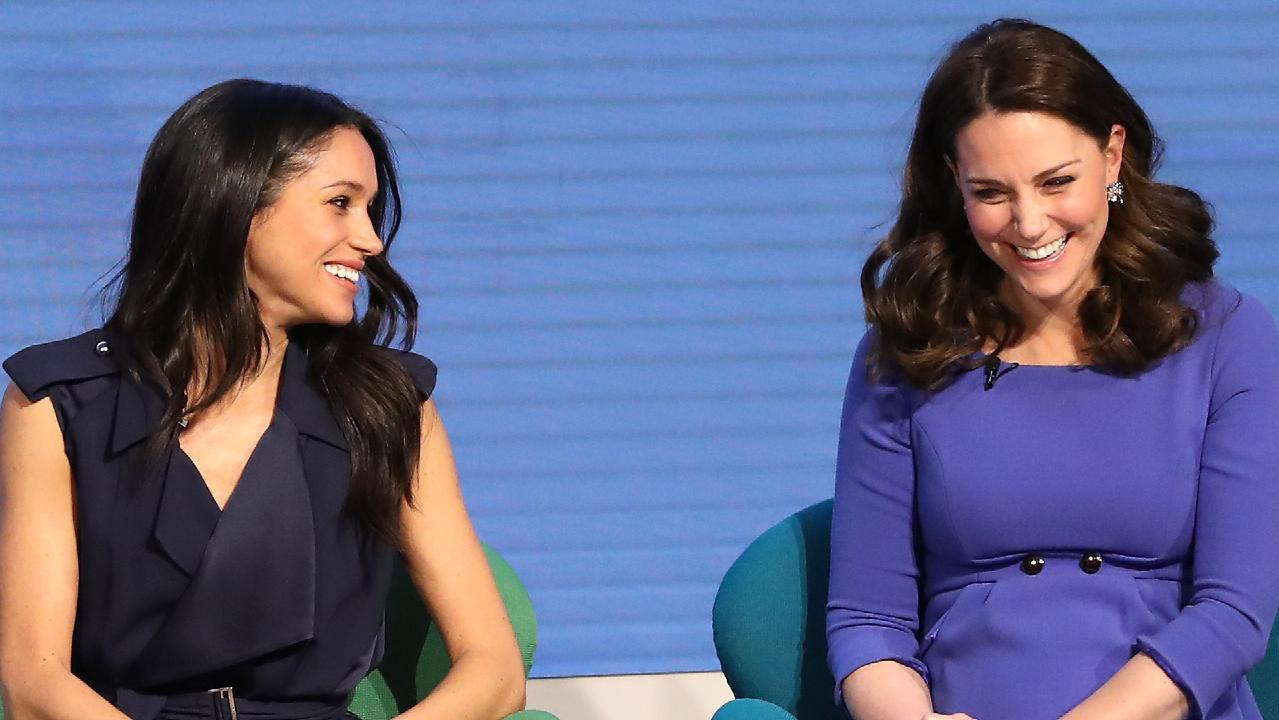 Prince Harry and Meghan Markle make their first appearance as a married couple Meghan Markle and the Duchess of Cambridge attend the first annual Royal Foundation Forum in February. Picture: Chris Jackson — WPA Pool/Getty Images