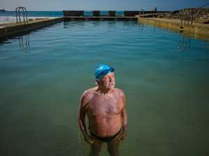 Barry Cribb stands in the Yamba ocean pool before he