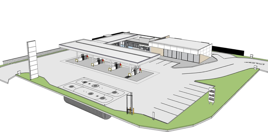 NEW SERVO: Concept art for a proposed new service station and fast food restaurant in Harristown.