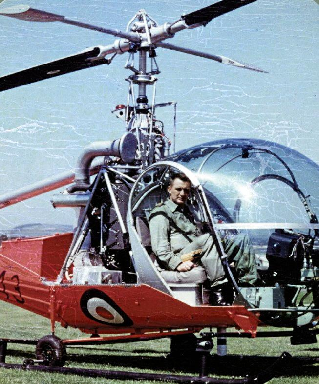 Pat at the controls of another chopper.