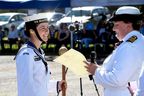Petty Officer Amy Easton is thrilled to receive the National Commander's Award.