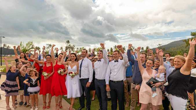 FIRST WEDDING: Whitsunday locals Casey Borellini and Finbar O'Flynn became the first couple to be married at Funnel Bay on Saturday.