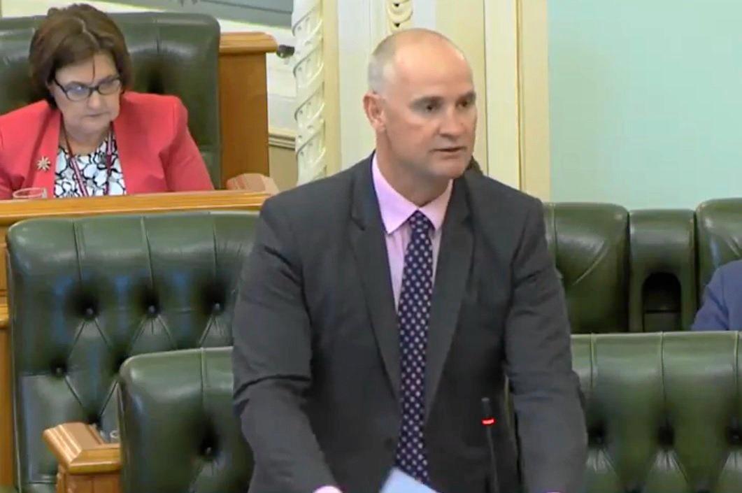 Gladstone MP Glenn Butcher during his speech to Parliament.