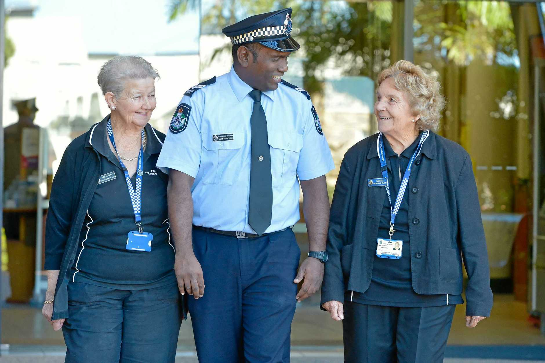HELPING OUT: Volunteers in Policing Judith Munt (left) and Barbara Anderson (right) with police prosecutor Acting Senior Constable Balan Selvadurai.
