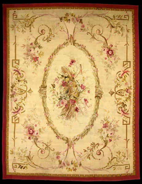 A typical Aubusson rug, circa 1815, named after region in France that produces these highly sought-after pieces.