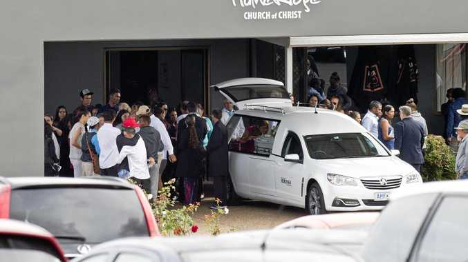 FINAL GOODBYE: Hundreds gather to farewell murder victim Debbie Combarngo at HumeRidge Church of Christ.