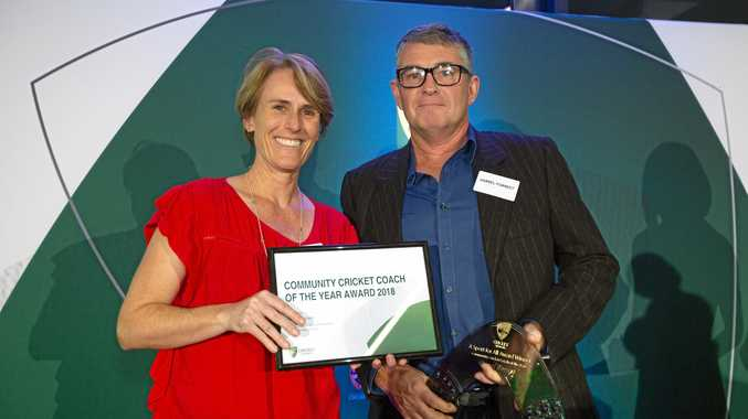 RECOGNISED: Belinda Clark with Community Cricket Coach of the Year Darrel Forrest.