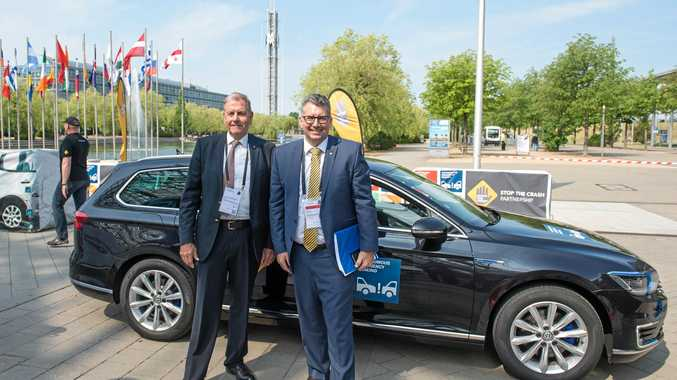 SAFETY FIRST: Lauchlan Mcintosh, the chairman of safety organisation Global NCAP, with Member for Hinkler Keith Pitt at the transport forum in Leipzig, Germany.