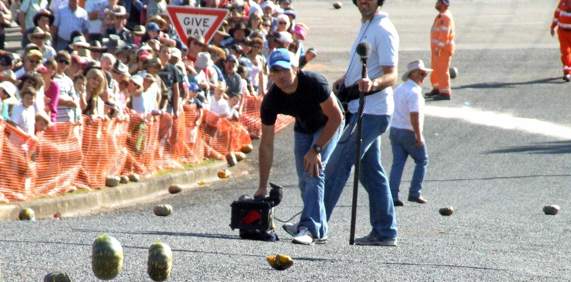 ROLL ON: The Great Australian Pumpkin Roll down Policeman's Hill.