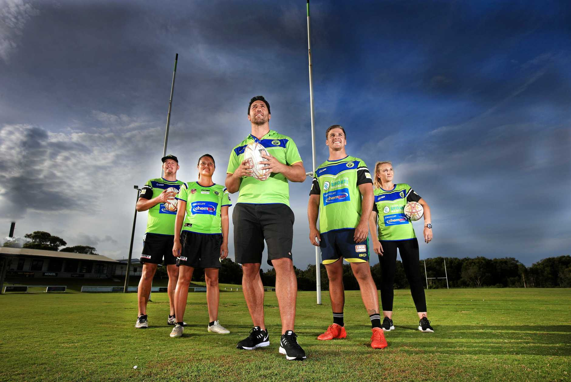 Tweed Coast Raiders new coach former NRL super star Brent Kite starts pre season training with some of his players : Guy Lanslon, Bridey McNeven, Brent Kite (Coach) Jamie Donaldson and Kristin Milloy
