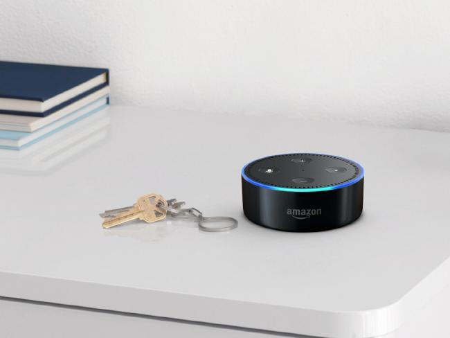 An Amazon Echo Dot smart speaker.